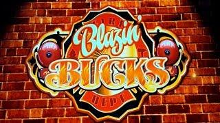Blazin' Bucks Slot - NICE SESSION, ALL FEATURES - $4.56 Max Bet!