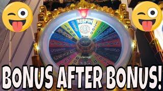 BONUS AFTER BONUS AFTER BONUS!  Wheel Spins galore on 3 different slots!