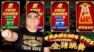 Prancing Pigs Slot Machine BONUSES & NICE WIN$!  $1,000 Challenge To Beat The Casino | EP-8