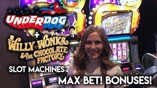 FIRST time Playing • UNDERDOG • Slot Machine! Max Bet! Original WONKA! BONUSES!!! • Slot Lady