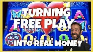 HOW MUCH CAN I TURN $85 OF FREE PLAY INTO PLAYING 8 DIFFERENT SLOTS?