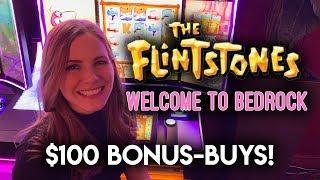 $1000 VS The Flintstones Slot Machine! $100 BONUS BUYS!!