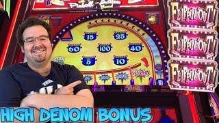 FLIPPIN' OUT - High Denom Max Bet BONUS with EXTRA SPIN - Slot Machine Live Play