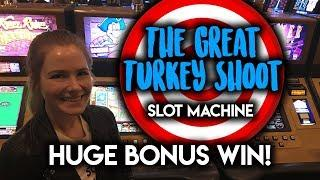 HUGE WIN! BONUS! The Great Turkey Shoot Slot Machine!