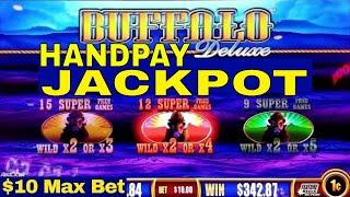 Buffalo Deluxe Slot Machine $10 Max Bet  •HANDPAY JACKPOT• | Aristocrat Slot | Live Slot | NG Slot
