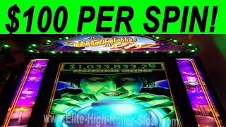 $100 Per Spin! High Limit Video Slot Gambling! Jackpot, Handpay Aristocrat, IGT WMS Buffalo, Quick H