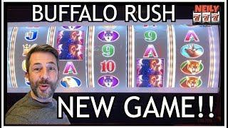 LET'S PLAY A BRAND NEW SLOT MACHINE • BUFFALO RUSH • CASH ME OUT!