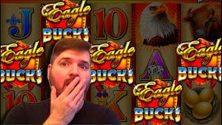 AS IT HAPPENS! RARE HIT! LANDING ALL 5 BONUS SYMBOLS On High Limit Eagle Bucks Slot Machine