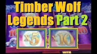 BIG WIN!! Timber Wolf Legends Slot Machine Bonus! Part 2 ~ Aristocrat (TimberWolf Deluxe Slot)