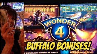WINNING ON WONDER FOUR BUFFALO-BONUSES!