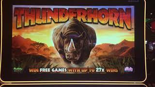 LUCKY PIG ~ THUNDERHORN ~ Spending A Little Free Play ~ Live Slot Play @ San Manuel