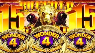 •HUGE BIG WIN! 15 BUFFALO HEADS FINALLY!• BUFFALO GOLD (WONDER 4 SPINNING FORTUNES) Slot Machine