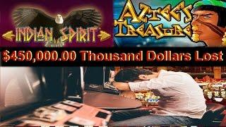 •MASSIVE LOSS Video Slot Machine Minus $450,000 Thousand Bucks Stink Machine Indian Spirit, Wolf Run