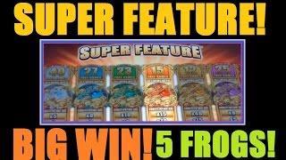 ★ BIG SLOT MACHINE BONUS WIN SUPER FEATURE - FIVE FROGS! Slot Machine Bonus Free Spins - Part 4!