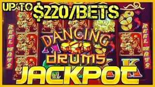 •️HIGH LIMIT Dancing Drums HANDPAY JACKPOT  •️$220 MAX BET SPINS Slot Machine Hard Rock Tampa