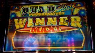 Wonder Wizard Slot Machine *MAXI PROGRESSIVE* Live Play Bonus Retrigger! (Quad Shot Progressives)