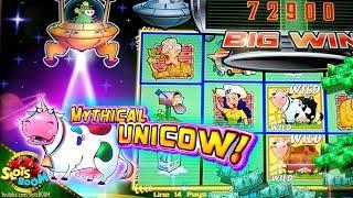 MYTHICAL UNICOW!!!• MAX BET BIG BONUS • Invaders Return from the Planet Moolah in San Manuel Casino