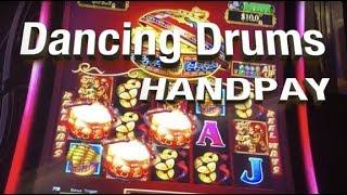 •HANDPAY!  •Dancing Drums •Slot Machine live play, bonuses + handpay •