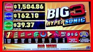 All Features on BIG 3 HYPERSONIC - Max Bet! Great Session!