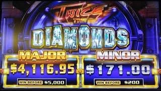 TWICE THE DIAMONDS SLOT MACHINE BONUS BY AINSWORTH - 25-Cent Denomination