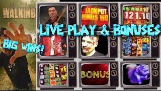 BIG WIN!!! LIVE PLAY on Walking Dead 2 Slot Machine with Bonuses