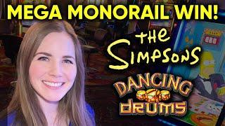 AMAZING Monorail Bonus! The Simpsons Slot Machine! Dancing Drums Mystery Pick BONUS!
