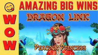 AMAZING HUGE WIN on DRAGON LINK PEACOCK PRINCESS SLOT MACHINE POKIE!  PECHANGA CASINO