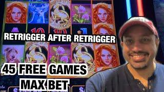 MAX BET 45 FREE GAMES RETRIGGER AFTER RETRIGGER! WILD WILD EMERALD SLOT AT RIVER SPIRIT CASINO!