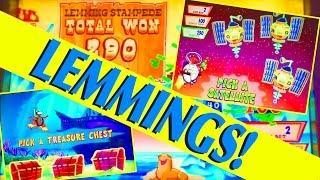 LUCKY LEMMINGS!! I GO INSANE!!  3 BONUSES!! FUN SLOT (MAX BET!) Slot Machine Bonus Win Videos