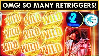 OMG RETRIGGERS!!! SUPER BIG WIN BONUS ON AMERICAN GODS SLOT MACHINE! WE LOVE THIS GAME!