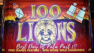 VERY BIG WIN! 100 LIONS SLOT MACHINE - PALA CASINO PART 1.  Aristocrat Classic
