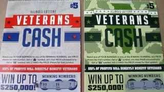 TWO Veteran's Cash - Illinois Instant Lottery Ticket Scratchcard Video