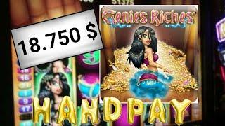 • GENIES RICHES • HAND PAY (18.750 $ ) •25c• • BY ARISTOCRAT SLOTS•