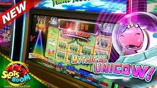 MYTHICAL UNICOW JACKPOT !!! Insane Re-Triggers!!! Invaders Return From Planet Moolah WMS Slot