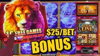 HIGH LIMIT Cash Express Luxury Line 50 Lions ⋆ Slots ⋆️$25 MAX BET Bonus Rounds Slot Machine Casino
