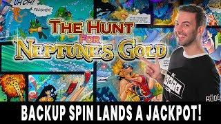 • JACKPOT on a BACKUP SPIN • RED SCREENS Hunt for Neptune's GOLD • Ho-Chunk Gaming Madison #ad