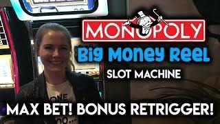MONOPOLY BIG MONEY Reel! RARE Free Spins Re-Trigger! Max Bet!