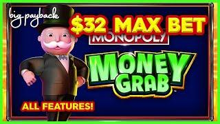 ALL FEATURES! Monopoly Money Grab Slot - UP TO $32/SPIN FEATURE!