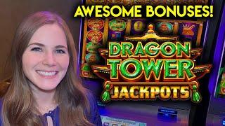AWESOME BONUSES! Great Session! Dragon Tower Jackpots Slot Machine!