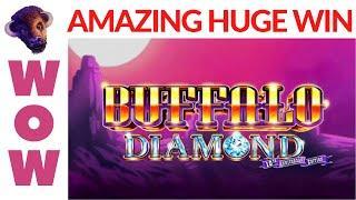 WOW!  I GOT THE BLUE DIAMOND and an INCREDIBLY HUGE WIN on BUFFALO DIAMOND SLOT POKIE