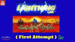 ( First Attempt ) Aristocrat - Lightning Link ( Sahara Gold ) : Live Play 5c Demo