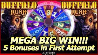Buffalo Rush Slot - Mega Big Win in First Attempt!  5 Bonuses in New Aristocrat Slot Machine!