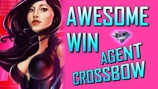 Agent Crossbow - BIG A$$ WIN line hit - Slot Machine Bonus