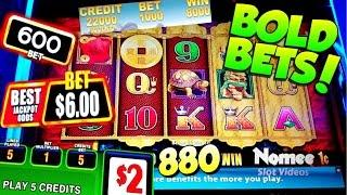 •BOLD BETS and WINS!• 5 DRAGONS Good Fortune Slot Machine $8.80 Max Bet - Long Play with BIG WIN!!••