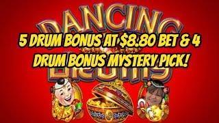 5 DRUM BONUS ON $8.80 BET & 4 DRUM BONUS MYSTERY PICK