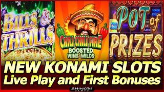 New Konami Slots - Bills & Thrills, Pot of Prizes and Chili Chili Fire Boosted Wins and Wilds