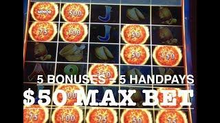 •(5) HANDPAYS ULTIMATE FIRE LINK • MAX BET $50 SPINS •CHINA STREET