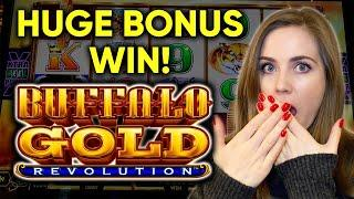 HUGE BONUS WIN!! Buffalo Gold Revolution Slot Machine! 3 WILD MULTIPLIERS!!