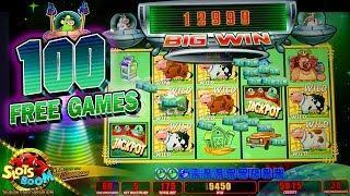 100 Free Games!!! BONUS on Invaders Return From Planet Moolah 1c Wms Slot in Morongo Casino