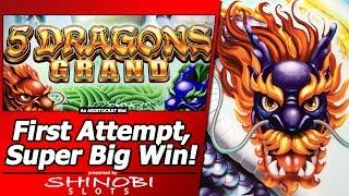 5 Dragons Grand Slot - First Attempt, Super Big Win w/Mystery Choice Free Spins